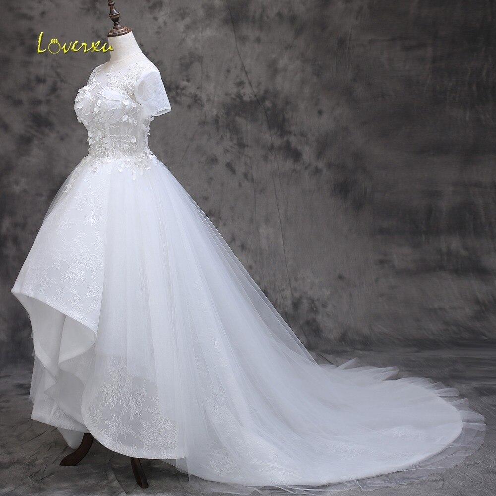 Loverxu Delicate Appliques Oansatz Perlen High Low Hochzeit Kleid ...