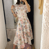 2019 ZIM Designer Runway Dress Women Vintage Floral Print Lace Patchwork Ruffles Maxi Dresses Lady Holiday Vacation Vestido