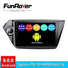 """FUNROVER android 9.0 car dvd multimedia player 2 din Per kia rio 3 k2 rio 2011-2016 radio gps di navigazione navi stereo 9 """"2.5D DSP"""