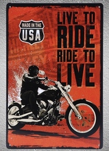 1 pc Live to ride live motorcycle Rider Indian Tin Plate Sign wall plaques man cave Decoration Art Dropshipping Poster metal