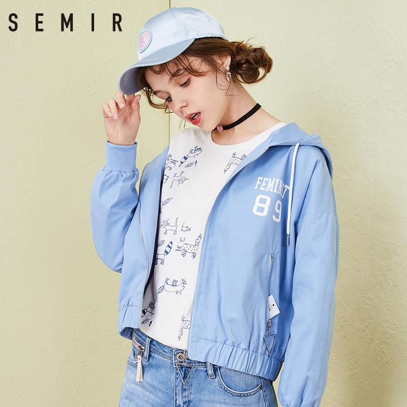 SEMIR   Jacket   fashion for women sash   basic     Jackets   Coat outerwear Coats Casual motorcycle Coats Female 2018 spring autumn