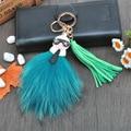 Fluffy  Karl Genuine Raccoon Fur Pompom Monster Bag Bugs Charm Keychain Plush KeyRing Leather Tassel Pompom  K001-green
