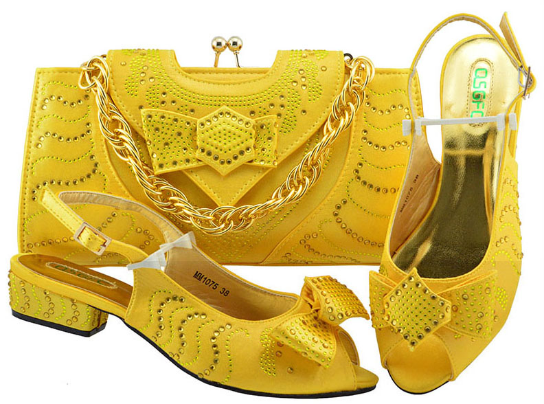 Yellow Color Italian Shoes with Matching Bag High Quality Shoes and Bag Set African Sets 2018 Ladies Shoes with Matching MM1075 g41 wonderful pattern european ladies shoes and bags sets with stone high quality women high heel with bag sets free shipping