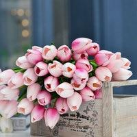 10 unids/lote Denisfen Flores Artificiales Real Touch PU Tulipán Simulación de Flores para La Boda Decoración Del Hogar Arreglo AFT2153