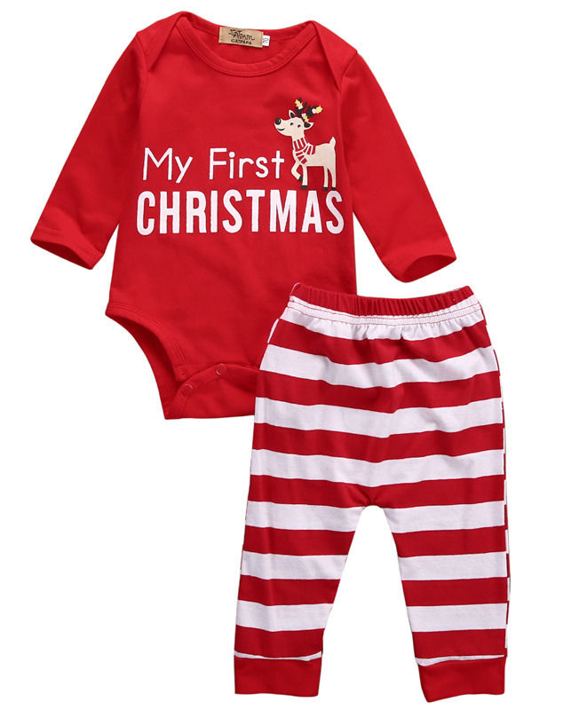 2016 2pcs My First Christmas Newborn Baby Girls Boys Long Sleeve Romper + Striped Pants Cartoon Baby Sets Cotton Clothing 0-18M cotton baby rompers set newborn clothes baby clothing boys girls cartoon jumpsuits long sleeve overalls coveralls autumn winter