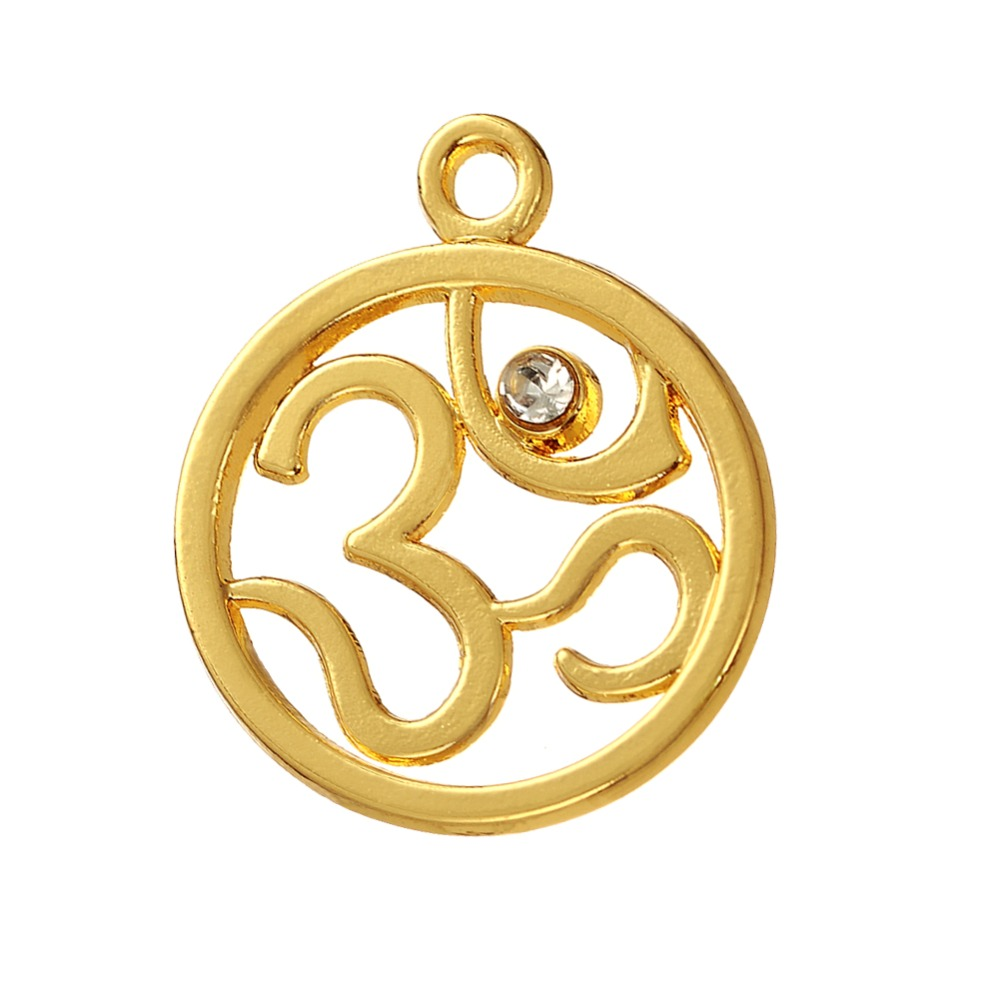 my shape Gold color Yoga Symbol Om Ohm Pendant Meditation Charms for DIY Bracelet 40pcs