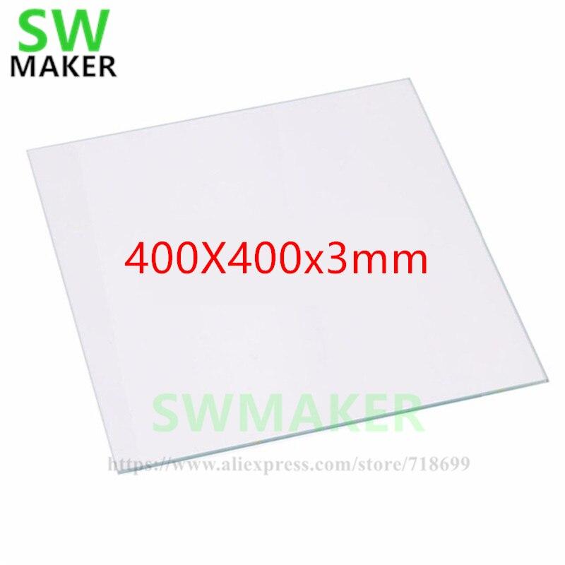 SWMAKER 400x400x3mm Borosilicate Glass Plate Bed for DIY Creality CR-10 Tarantula I3 3D Printer metal frame linear guide rail for xzy axix high quality precision prusa i3 plus creality 3d cr 10 400 400 3d printer diy kit