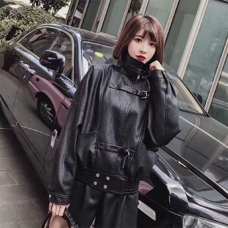 2018 Hot Women Punk style Loose Faux Soft PU   Leather   Jackets Lady Free Biker Batwing Sleeve Coats Streetwear Beige Black