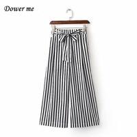 Black White Vertical Stripes Casual Wide Leg Ladies Pants Low Frenulum Slim Female Trousers Bow