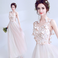 Sweet Light Pink Fairy Longl Backless Lady Girl Women Princess Bridesmaid Banquet Party Dress Gown Free