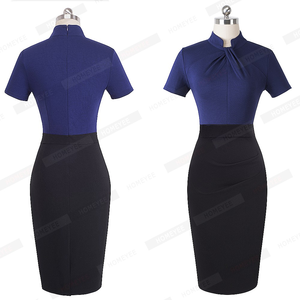 Elegant Work Office Business Drapped Contrasting Bodycon Slim Pencil Lady Dress Women Sexy Front Key Hole Summer Dress EB430 11