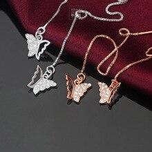S925 Plata Esterlina de La Mariposa Pendientes de Oro Lleno de Circón Hueco de La Mariposa Colgante Largo Pendientes para Las Mujeres Pendientes Animales