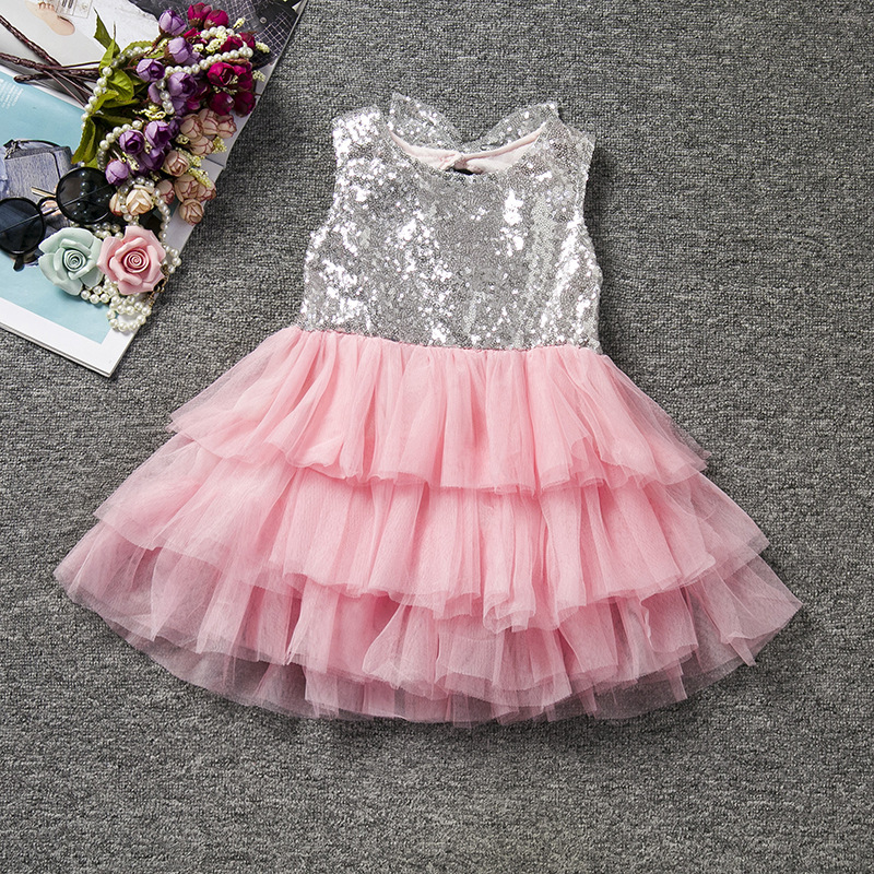 U-SWEAR 2019 New Arrival Kid   Flower     Girl     Dresses   O-neck Sleeveless Sequined Ball Gown Ruffles Mesh   Girls   Pageant   Dresses   Vestido