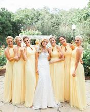 2017 Elegant Cheap Bridesmaid Dress A-line Yellow O-neck Chiffon Long New Arrival Bridesmaid Dresses