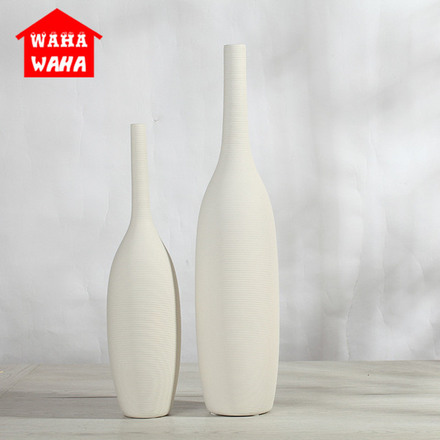 1pcs Chinese Porcelain Nordic Modern Ceramic White Vase Ornaments