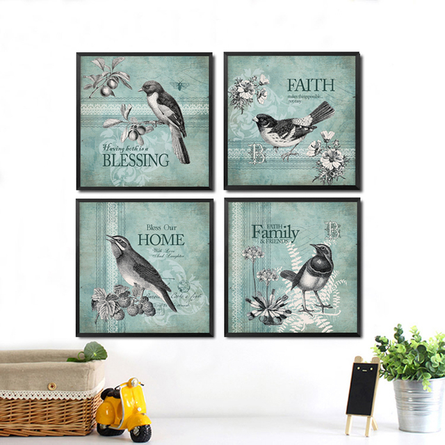 Animal Birds Picture Canvas Painting Blessing Faith Home Family Quotes Wall  Decor Painting Wall Decor Pictures