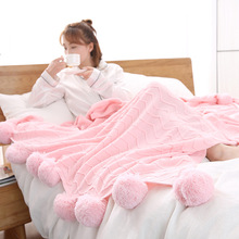 Ball Carpet Simple Solid Knit Cotton Blanket Office Lunch Break Air Conditioning Sofa Blankets 200*150CM