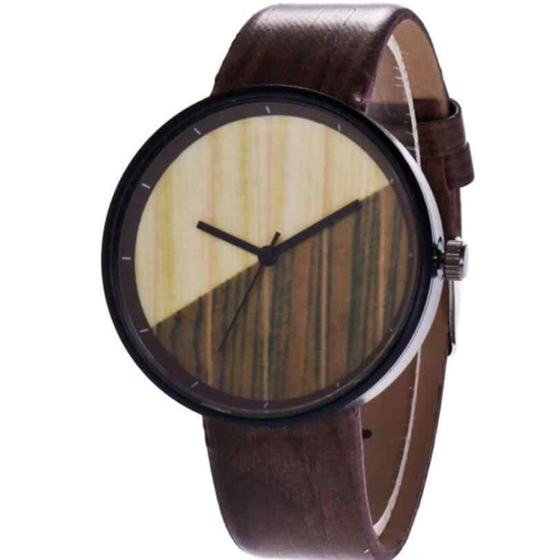 Relojes de mujer de grano de madera creativos hombres jóvenes mujeres de medio Color cuarzo amantes relojes pareja reloj 4 colores disponibles 2019