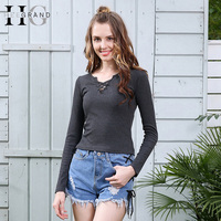 HEE GRAND 2017 Long Sleeve Laced Up Criss Cross Long Sleeve Hollow Out T Shirts Spring