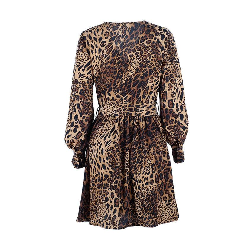 OOTN Zarif Leopar Çiçek Elbise Kadın Yaz Tunik Baskı Elbise Kadın Kısa Mini Elbise V Boyun Seksi Bayanlar Ofis Uzun kollu