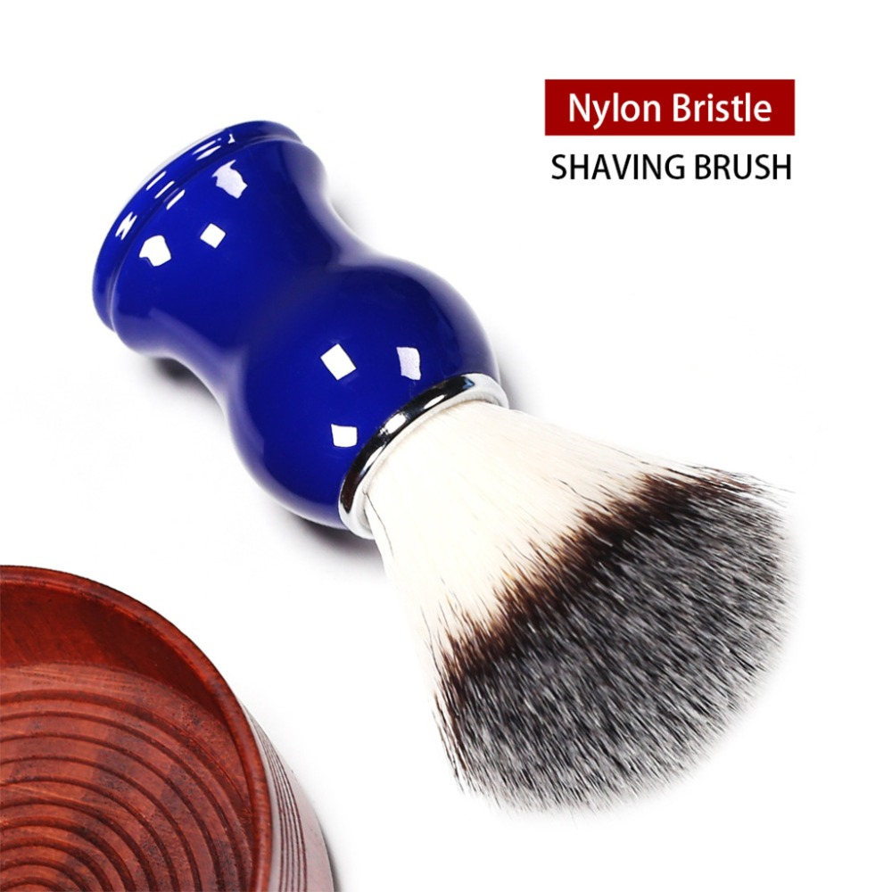 1Pc Men Shaving Brush Natural Nylon Hair Straight Razor Shave Barber Face Cleaning Blue Resin Handle Salon Tool Classic Retro
