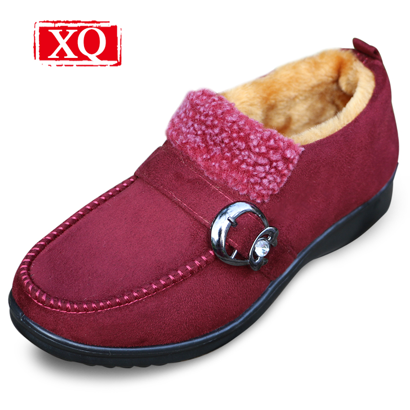 XQ  Winter Women Ankle Boots Anti Skid Keep Warm Shoes Ladies Flats Snow Boots Round Toe Solid Color Cotton Shoes Ski boots 226 winter woman boots lace up ladies flat ankle boot casual round toe women snow boots fashion warm plus cotton shoes st903