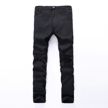 2017 Fashion Swag Mens Denim Jeans Skinny Ripped Destroyed Stretch Trousers Slim Fit Hip Hop Pants With Holes For Men