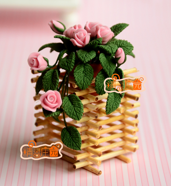 Mini dollhouse Mini furniture accessories clay flower pink rose frame beautiful
