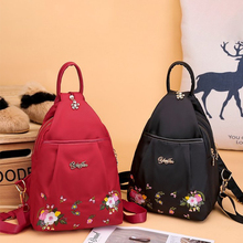Fashion Women Backpack Embroidered Flowers Oxford Cloth Female Backpacks For Girls Teenagers Schoolbag Small Backpack Ladies Bag все цены
