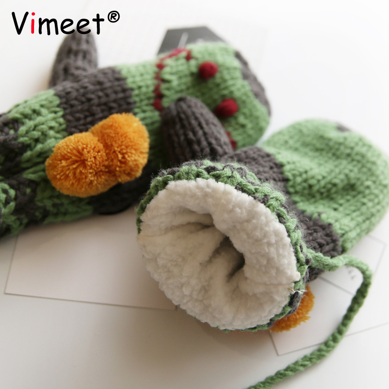 Vimeet Clothes Accessory Female Winter Gloves Women Knitted Thick Gloves Girl Warm Mittens Cute Gloves VM-G501