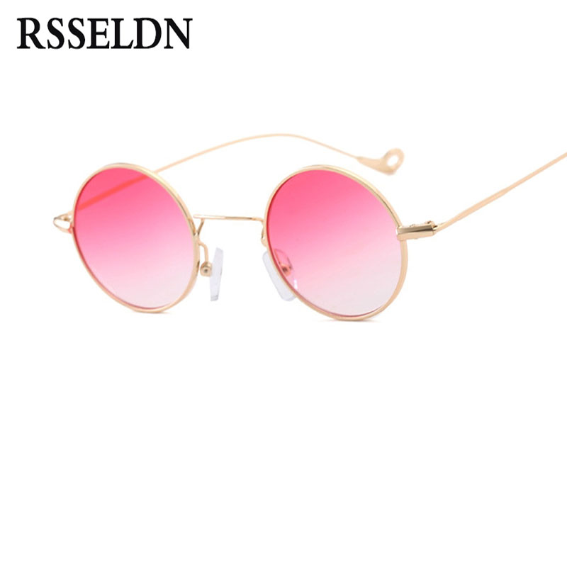 RSSELDN Retro Small Round Sunglasses Men Brown Green Yellow Lens Metal Frame Fashion Sun Glasses For Women Brand Vintage UV400