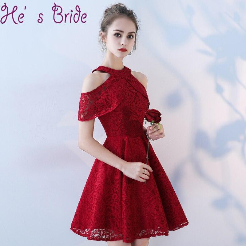 Prom Dress Elegant Wine Red Halter Short Sleeves Zipper Back Vesta De Festa A Line Short