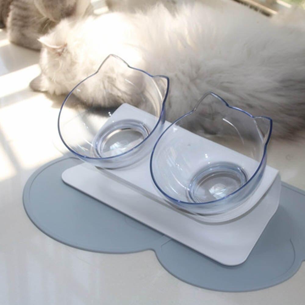 Пластиковая двойная Нескользящая миска для домашних животных для собак щенков котов пищевая кормушка для воды Кормление домашних животных...