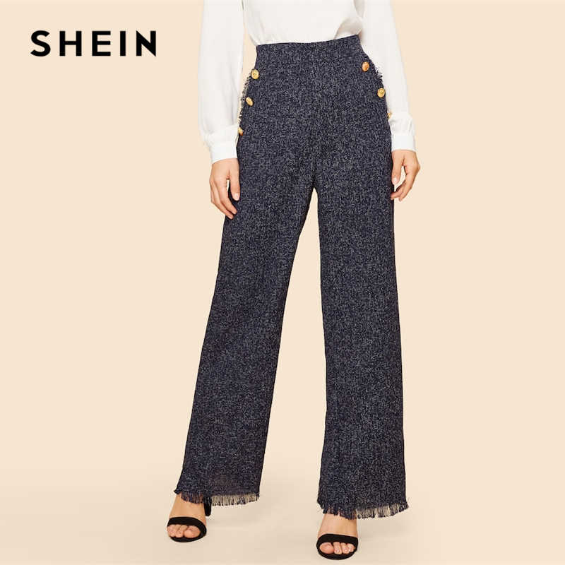 SHEIN Buttoned Detail Wide Waist High Waist Frayed Trim Palazzo Tweed Fringe Loose Pants Spring Elegant Workwear Women Trousers