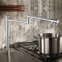Wall Mounted Brass single cold Pot Filler faucet tap Double Joint Spout Chrome Deck Mounted Kitchen Faucet