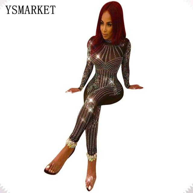 Online Shop 2018 Sexy Nightclub Glitter Mesh See Through Rhinestone Jumpsuit  Women Vintage Full Cover Sequins Bodysuit Party Romper EQ034  95ca95d60