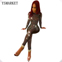 2018 Sexy Nightclub Glitter Mesh See Through Rhinestone Jumpsuit Women Vintage Full Cover Sequins Bodysuit Party Romper EQ034