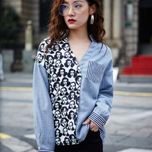 2017 women's autumn patchwork striped stand collar long sleeve v neck pullover blouse female microstretch thin shirt