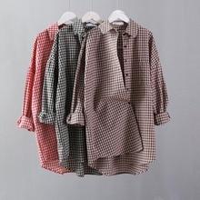 Korean Fashion Plaid Vintage Blouse Women Low High Design Spring Atumn Ladies Tops Long Sleeve Blouse Plus Size Women Long Shirt цены онлайн