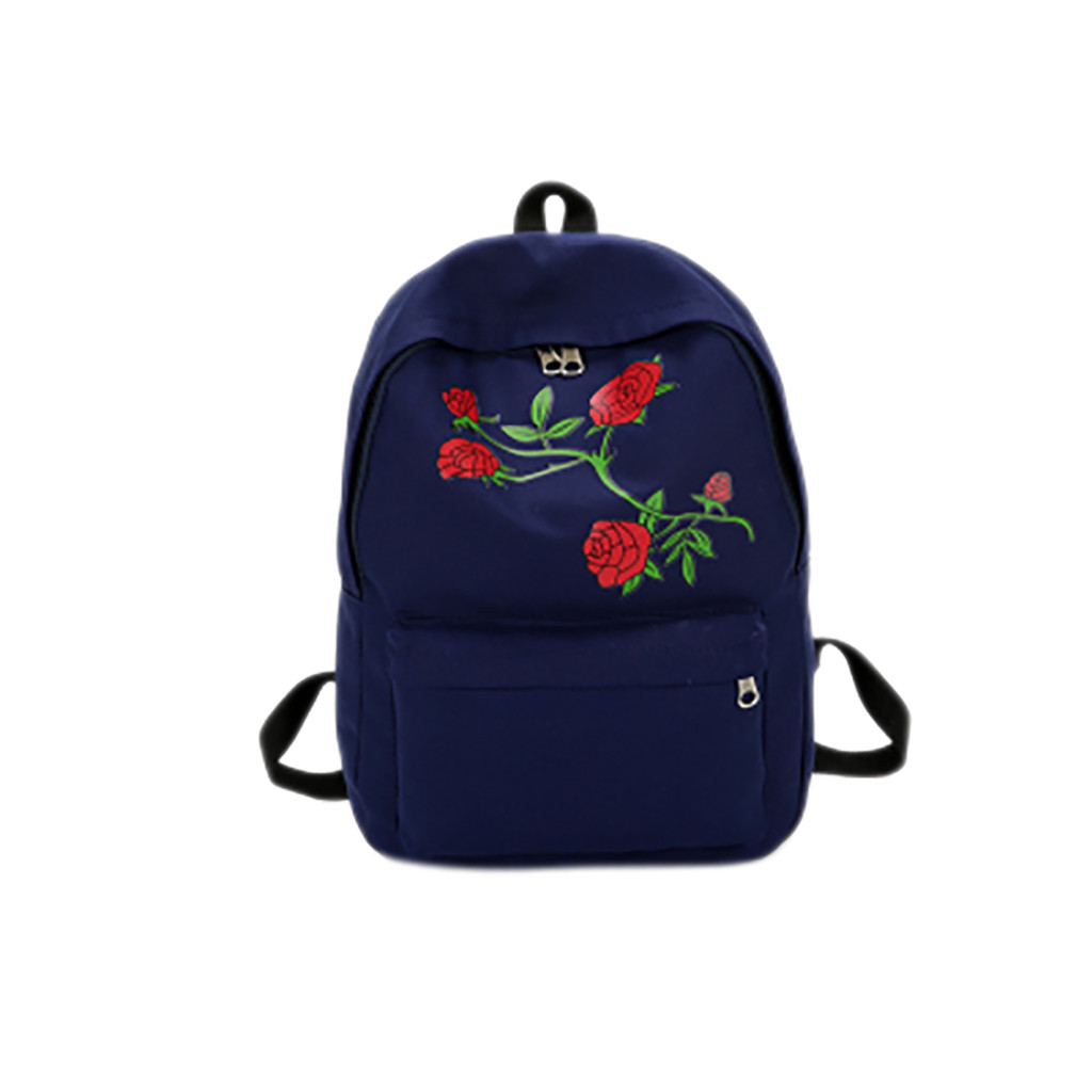 Women Girls Embroidery Rose School Bag Travel Backpack Bag Shoulder Bag fashion waterproof high quality school bag hot Mar 10#10(China)