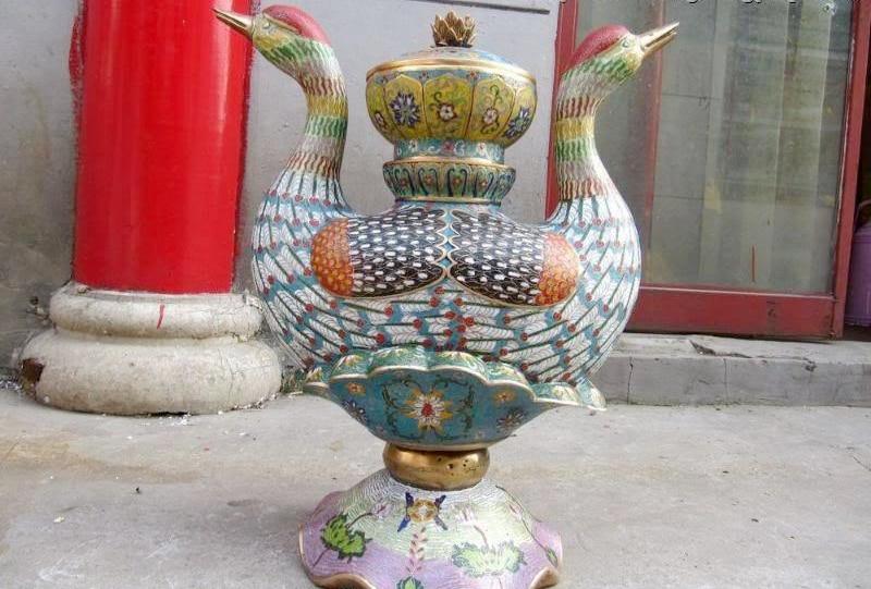 21 Chinaese Royal 100% Pure Bronze cloisonne mandarin duck Incense burner Censer
