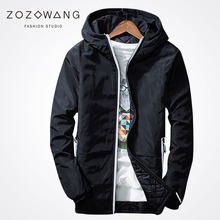 Zozowang 2017 new solid hooded keep warm winter jacket men casual fashion zipper pockets loose coat black