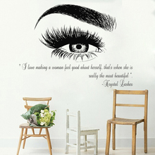 Beauty Salon Quote Wall Decal Stickers Eye Eyelashes Lashes Eyebrow Brows Vinyl Decals Livingroom Art Decor Sticker Muraux LC357(China)