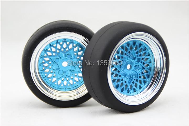 4pcs RC 110 High Speed Drift  Tires Tyre Wheel Rim ClassiCB 6mm offset (Chrome+Painting Blue) fits for 1:10 Drift Car