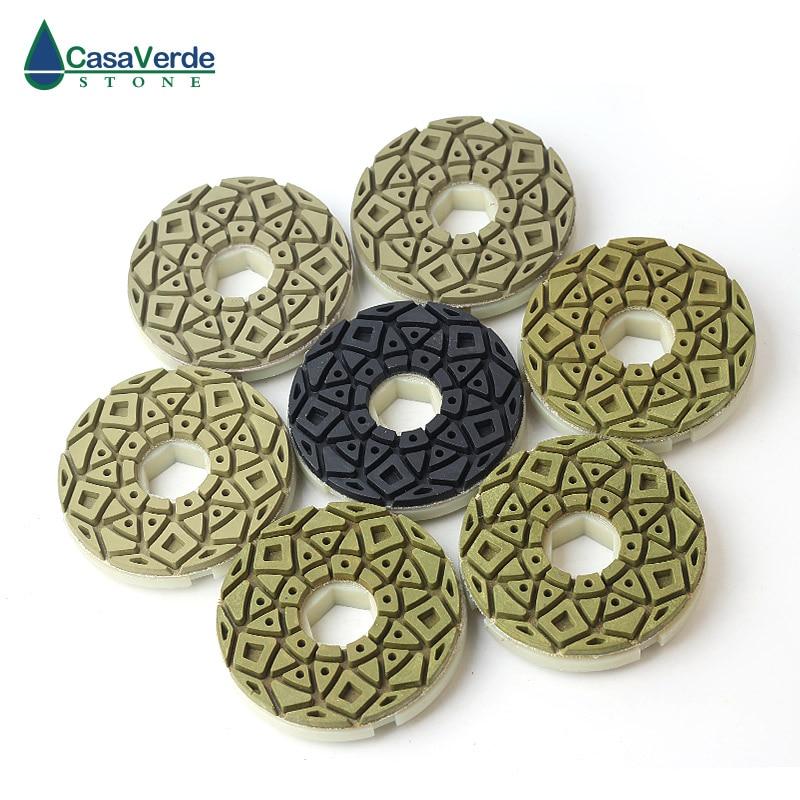 Tampons de polissage de bord de diamant roue de polissage humide de 5 pouces pour le marbre concret de granit