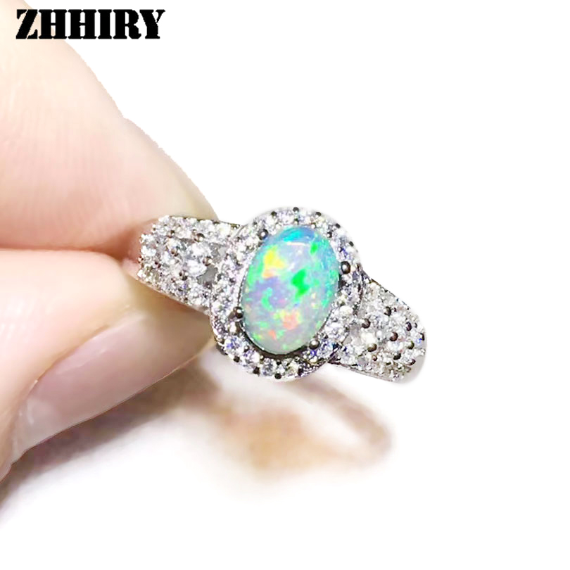 ZHHIRY For Woman Genuine Natural Fire Opal Rings 925 Sterling Silver Real Color Gemstone Ring Fine Jewelry все цены