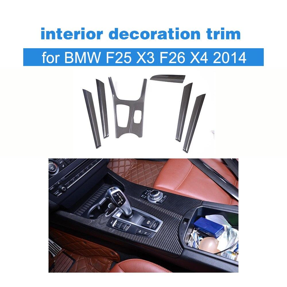 Fibre de carbone intérieur tableau de bord décoration garniture pour BMW F25 X3 & F26 X4 2014 conduite à gauche voiture-style