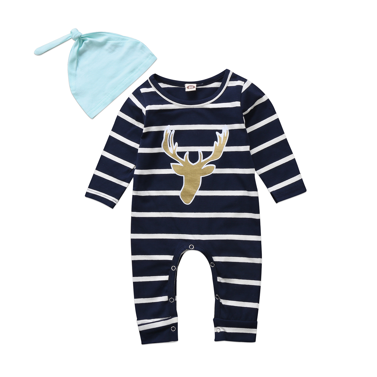 Kid Infant Baby Boy Girls Long Sleeve Casual Romper Jumpsuit Outfit Set Clothes+Hat 0-24M