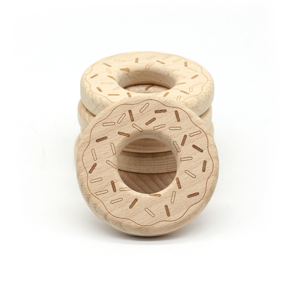 5pcs/ Hot Sale Beech Doughnut Mordedor Wooden 0-3 Months Baby Teething Teether Wood Ring Toy Pacifier Clips Diy Make