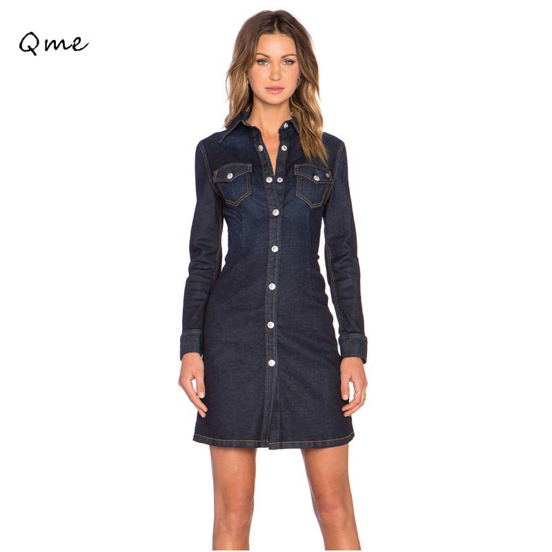 b6104080777 woman denim dress 2015 new arrivals bandage dress Long-Sleeve Jean Dresses  Brand Vestidos robe jean denim office dress WI248